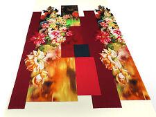 ☻ Stoff Jersey Blumen Abstrakt Rapport 125cm Druck vanille rot grün bunt ☻
