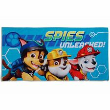 PAW PATROL SPY BEACH TOWEL 100% COTTON KIDS BATH TOWEL BLUE OFFICIAL NEW