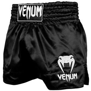 Venum Classic Thai Shorts - Black-White, S-XXL For Muay Thai, Kickboxing And Mma