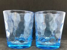 4 Pasabahce Glass Tumbler Ice Blue Mist Dot Circle Rock Old Fashion From Turkey