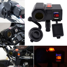 Motorcycle USB Power Charger Socket Port Voltmeter+145 Cable Waterproof 12V 4.2A