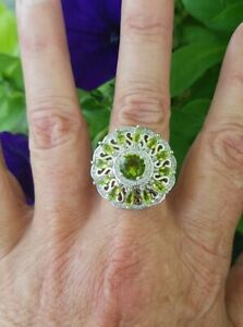 Round & Marquise Cut Peridot Designer Cluster Ring, Sterling Silver, Size 7