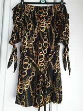 BNWT Pep&Co Size 20 Orange/Black Snake Skin Print Off The Shoulder Dress