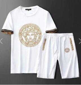 Versace Men's Medusa Track Set White Size LARGE TOP SHORTS SET