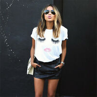 GT Women Summer Loose T-shirt Lashes Lips Printed White T-Shirts Tops Tees JR