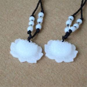 2PCS Natural White Jade Lotus Pendant Necklace Fashion Lucky Charm Unisex Gift