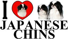 I LOVE JAPANESE CHINS Dog Car Sticker By Starprint - Ft. the Japanese Chin