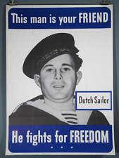 "WWII Original Poster Dutch Allied Friend 28.5x40"""