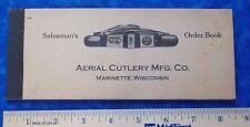 Rare Aerial Cutlery Mfg Co Marinettte, Wi 1910'S Unused Knife Order Book Stidham