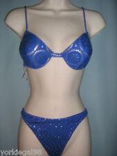 La Perla Occhi Verdi Size 44 / Misses 8 Blue, Silver Mosaic Print Bikini NWT