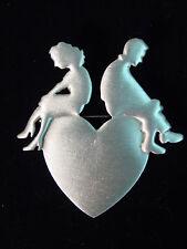 """""""JJ"""" Jonette Jewelry Silver Pewter 'LOVE * Man * Woman' HEART Pin"""