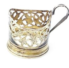 Antique Tea Cup Holder  Sterling Silver 875  Nielo Russian Sovietic Handmade