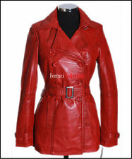 FELICIA Ladies Leather Trench Coat Red Real Lamb Leather Jacket Mid length Coat