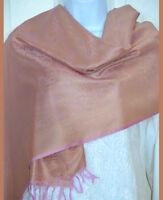 Pink Golden Banaras Silk Woven Paisley Design Shawl, Wrap, Stole!