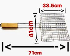 L Outdoor BBQ Fish Meat Barbeque Net Foldable Hand Held Grill Mesh Wire Clamp AU