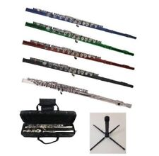 New Merano Student Flute with Case, Free Stand in Black Red Blue Green Silver
