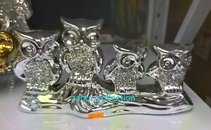 Crushed Crystal Diamond Owls Ornament Silver Shelf Sitter