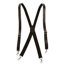 New CTM Men's Smooth Coated Leather Suspenders with Metal Swivel Hook Ends