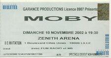 RARE / TICKET BILLET DE CONCERT - MOBY : LIVE A LILLE ( FRANCE ) 2002