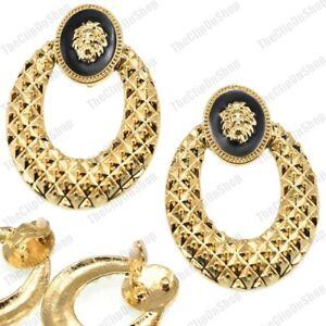 "CLIP ON lion doorknocker 2""BIG TEXTURE HOOP earrings RETRO GOLD FASHION HOOPS"