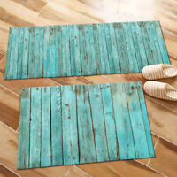 Faded Blue Old Wood Board Kitchen Mat Bedroom Floor Area Rugs Home Decor Carpet