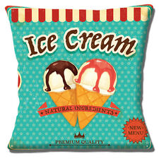 Ice Cream Cushion Cover 16x16 inch 40cm Vintage Retro Sign Style Mottled Finish