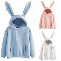 Fashion Womens Long Sleeve Cute Rabbit Hoodie Sweatshirt Pullover Tops Blouses