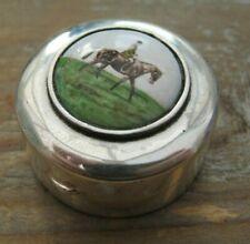 English Hallmarked Sterling Silver & Enamel Horse Racing Box / Vinaigrette