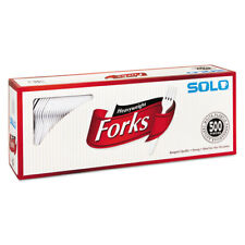 SOLO CUPS Heavyweight Plastic Cutlery, Forks, White, 6.41 in, 500/Carton 827263