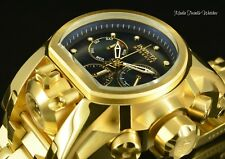 Invicta Reserve 52mm Bolt Zeus BLACK M.O.P DIAL MAGNUM 18K Gold Plated Watch!!