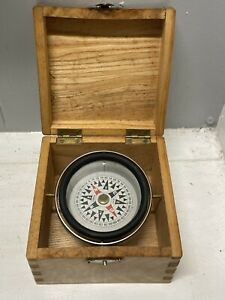 Vintage Japanese Nautical Compass in Dovetail Wood Box Micronta Japan