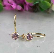 14K Solid Yellow Gold Round 4mm Pink Zircon Drop Earrings - Summer Sale