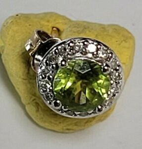 Vintage 9ct Rose & White Gold Peridot Colour Unknown Clear Stones Single Earring