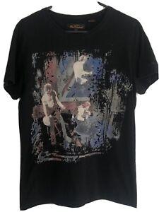 Ben Sherman Mens Black Graphic T-Shirt Size Medium M The Original Tee