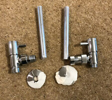 Chrome Polish Angled  Radiator Taps (pair) With Pipe And Flanges.