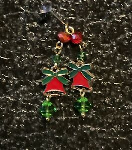 Red & Green Bell Christmas Earrings Choice Of Fittings Please See Second Picture