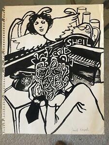 """Vintage Early JOSEF M KOZAK Original Work of Art Drawing """"SHEIL"""" Unframed Signed"""