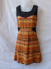 O'Neill Surf Sz 8 Dress NEW Mini Viscose Black Orange Print Summer Beach Casual