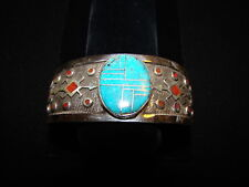 Sterling Silver and Turquoise and Coral Bracelet by Charles Johnson Navaho New