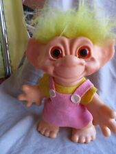 "1964 Dam Things Establishment Troll Original Blonde Yellow Hair Pink Dress 11"""