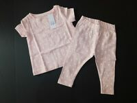 NWT Gap Baby Girl 2 Pc Pink Polka Dot T-Shirt/Legging 12-18M 3Yrs Free Ship New