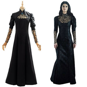 Yennefer Cosplay Costume Halloween Uniform Black Party Long Dress Outfit