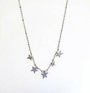 NEW Authentic KENDRA SCOTT 004 Shining Jae Star Choker Necklace Rhodium, Silver