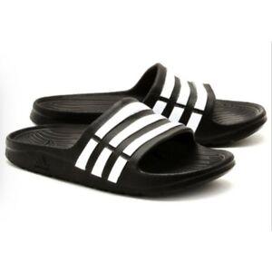 Adidas Kids Originals Adilette Aqua K Slide Sandal Black White Boys Girls Size 5