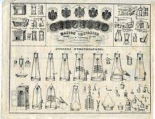 PAPIER PUBLICITAIRE MAISON CHEVALIER PARIS 860/1870 APPAREILS HYDROTHERRAPIQUES