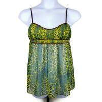 Victoria's Secret Green Leopard Print Babydoll Chemise Lingerie Size Large