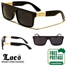 Locs Sunglasses - Retro Flat Top Frame - Gloss Black - FREE POSTAGE IN AUS