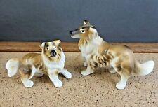 Vintage Sheltie Collie Dog & Puppy Dollhouse Pet Miniature Porcelain Figurine #8