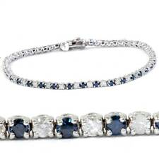 """3ct Diamante Azul Y Blanca tratados Pulsera de tenis de oro blanco 14K 7"""""""