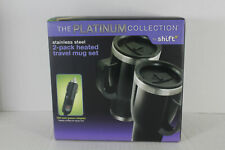 NEW Platinum Collection 2-Pack Heated Travel 14Oz Stainless Steel Mug Set Shift3